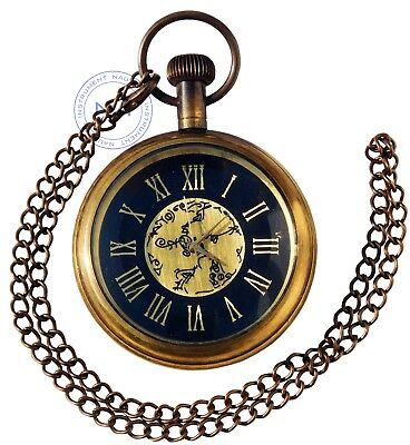 Nautical Brass Roman Dial Pocket Watch Necklace~Collectible Clock with Chain