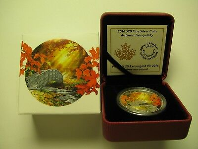 2016 Proof $20 Autumn #4-Tranquility Canada .9999 silver twenty dollars