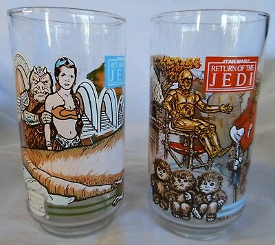 Vtg 1983 Coca-Cola STAR WARS Return of Jedi Drinking Glass EWOK Princess Leia