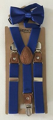NEW Clip On Suspenders with Bow Tie JIERKU Kids Toddler Royal Blue Leather