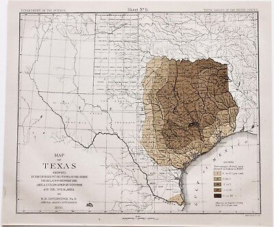 Map Of Texas 1880.1880 Texas Map Austin San Antonio Cotton Cultivation Original