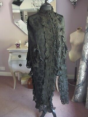 Antique beaded cape style jacket coat with lappets lace detail