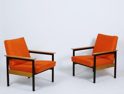 Pair of Metal Framed Leather Armchairs with Wooden Armrests Switzerland 1960s