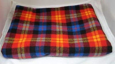 Older Wool Fabric Yellow Blue Black Red Orange Plaid Scarf Weight 38x38+ Inches