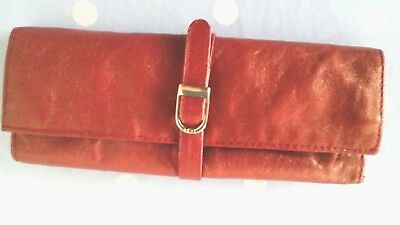 VINTAGE 60s Italian Copper Finish Soft LEATHER JEWELLERY ROLL Travel Case ITALY