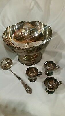 Antique silver punch bowl w/ Ladel & 18 Cups!  Beautiful!