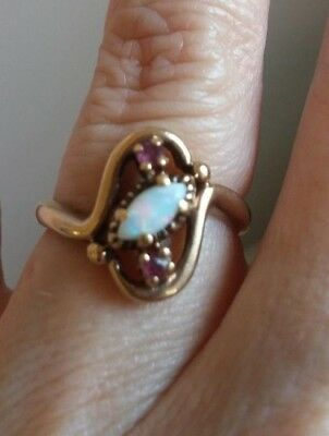 Antique Vintage Ruby and Opal Ring - 10K solid Gold - Victorian Style!