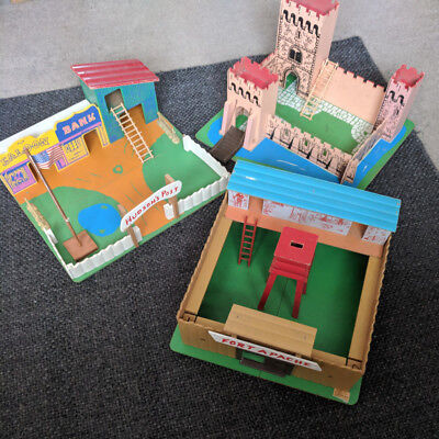 Vintage play sets assortment, 1960s Tiger Toys, castle, western, apache fort