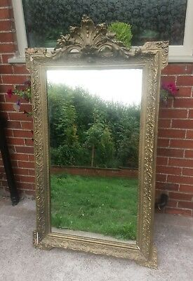 Antique Very Large Victorian Gilt And Gesso Mirror
