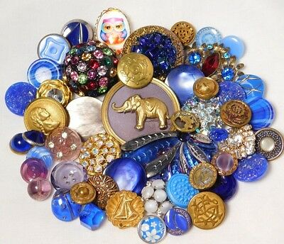 Antique VINTAGE Button LOT COBALT Blues MOONGLOW PEARL Glass METAL Elephant I