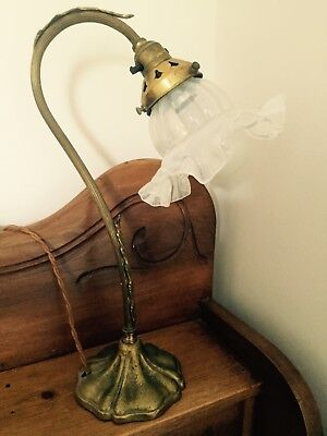 Antique Art nouveau swan neck brass desk/table lamp with vaseline glass shade