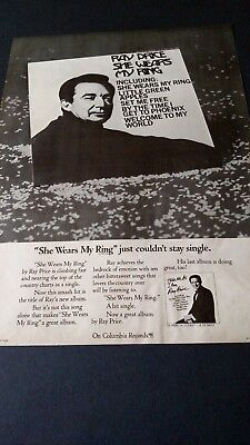 "RAY PRICE...""She Wears My Ring""  1968  Original Promo Poster Ad"