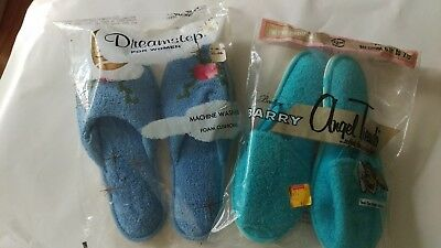 Vintage LOT OF 2 PAIR NEW Womens House Slippers Medium Blue Floral Teal Solid