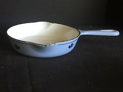Antique Vintage Blue and White Enameled Cast Iron Frying Pan Skillet
