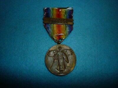 Genuine-US WW1 Victory Medal With Original Ribbon-Full Size-France & England bar