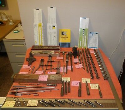 Vintage Machinist Tool Lot - Taps & Bits Millers Falls Inside Micrometer / Card