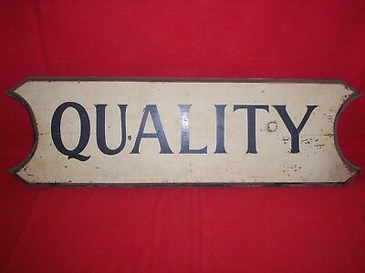 "Early Vintage Painted Wood Store Sign   "" Quality """