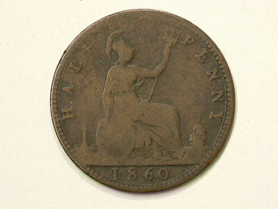 1860 Great Britain Half 1/2 Penny #1458