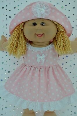 """Play n Wear Doll Clothes To Fit 16"""" Cabbage Patch  PINK POLKA DOT DRESS~HAT"""