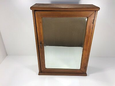 "Vintage Wooden Medicine Cabinet With Mirror Door 22""x16""x6"" With Shelves"