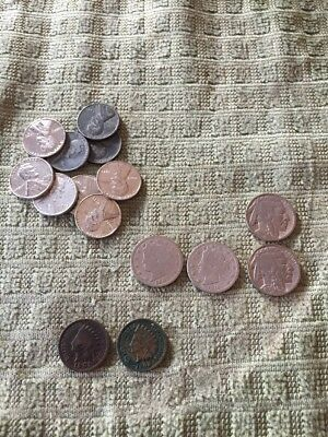 Lot Of Coin Nickel And Penny USA V Nickel Indian Head Steel Penny And More