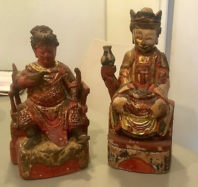 "Antique 2 Chinese wood carved Buddhas  10"" worn paint shabby chic"