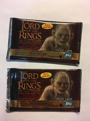 Lord Of The Rings Movie Cards Two Towers Edition 2 Pks sealed NEW 2002