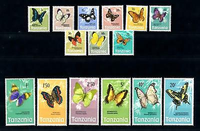 [70801] Tanzania 1973 Insects Butterflies 15 Values MNH