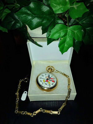 Vintage 1970's Gold Tone Mickey Mouse Railroad Pocket Watch w/ Chain