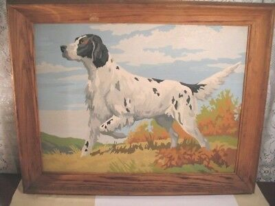 Vintage Paint By Number Painting Hunting Pointer Dog, Rustic