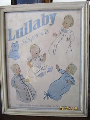 "ANTIQUE FRAMED"" LULLABY"" BABY CLOTHES AD For Baby's or Doll's Nursery, Display"
