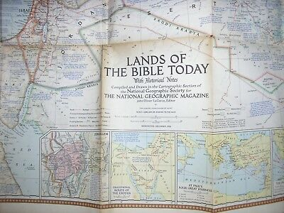 1956 map national geographic -Lands of the Bible Routes of St Peter, Crusades, +