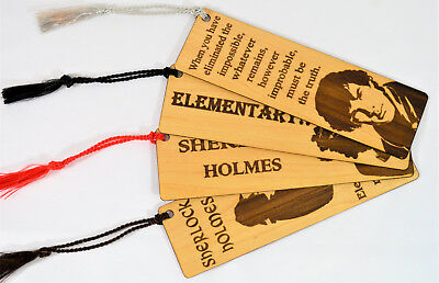 Wood Bookmarks, Maple & Mahogany, Four Sherlock Holmes Designs, In Gift Bag New