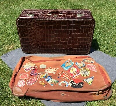 Antique Vtg 30 40s Crocodile Trunk Suitcase w Canvas Cover+ Travel Stickers NEAT