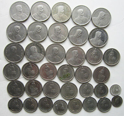 Lot of Swiss coins totaling 104 francs ($104.50)