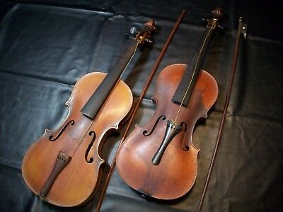 2 antique violins ..Jacobus Stainer and no name on other one? Pair vintage instr