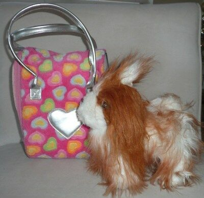 Pucci Pups Tan Shih Tzu Maltese Puppy Plush Dog & Tote Pet Carrier Pink Hearts
