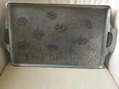 """Vintage Wendell August Forge Hammered Aluminum 21"""" Tray With Handles"""