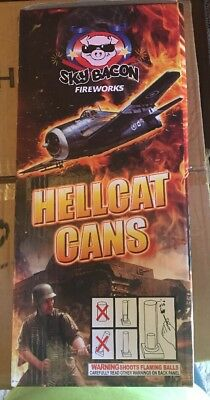 Sky Bacon Hellcat Cans Fireworks Label With Graphic Mortar Tube And Box Only
