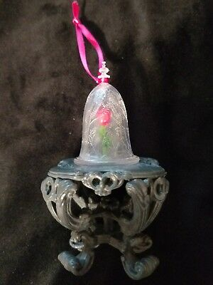 Disney Beauty and the Beast Enchanted Rose Christmas Ornament under glass
