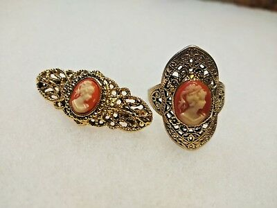 Beautiful Vintage Gold Cameo Brooch & Ring Matching Set Size 8