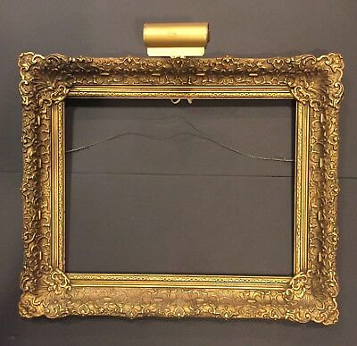 "Antique Victorian ornate gold gilded gesso wood frame 23""X19"" original light"