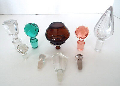 GLASS BOTTLE STOPPER Collection Vintage Lot Mid Century Modern Decanter Lids