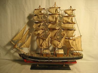 "Wooden Ship Model 19 1/2"" Long 17"" Tall Good Looking"