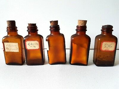 Lot 5 Vintage/Antique Brown Glass Pharm Apothecary Chemistry Bottles Cork poison