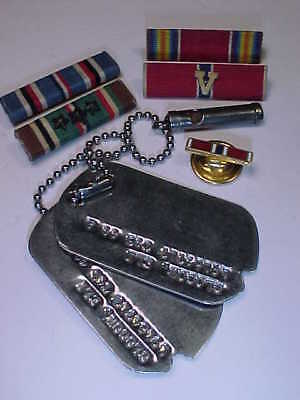 Lot WW2 US Army 12th Div 17th Armored Infantry Eli Glogow Jewish Dogtags w. Tora