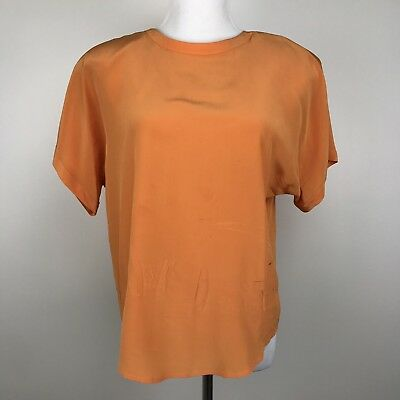 Vtg ELLEN TRACEY Linda Allard Silk Orange Blouse Size 10 Medium Button Back READ
