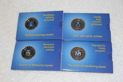 Lithuania set of  4 proof color coins 2012 resorts 2,500 mintage