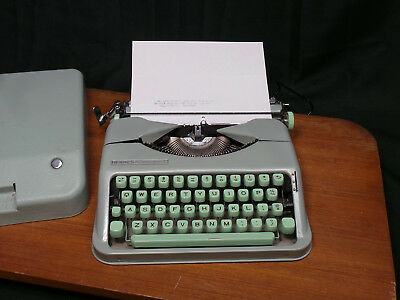 Vintage Hermes BABY  Rocket Portable Typewriter IN CASE Seafoam Green   READ