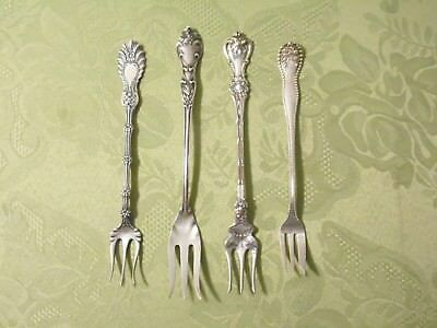 (4) ORNATE STERLING SILVER OYSTER & PICKLE FORKS by BLACKINTON, GORHAM & WHITING